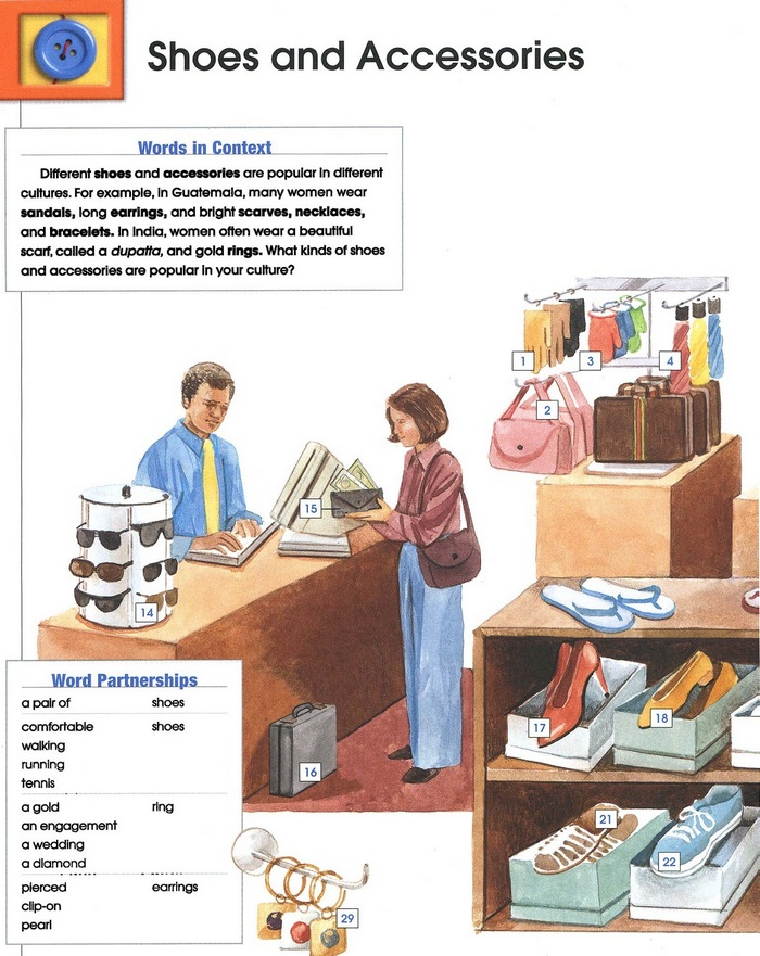 SHOES AND ACCESSORIES vocabulary pic 1