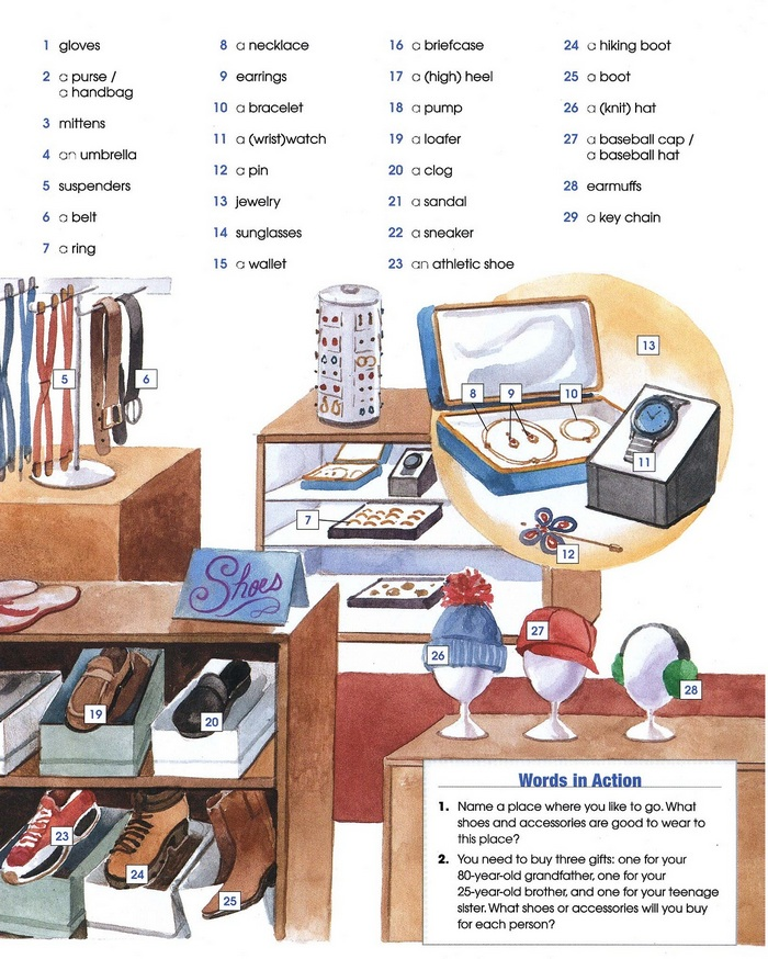 SHOES AND ACCESSORIES vocabulary pic 2