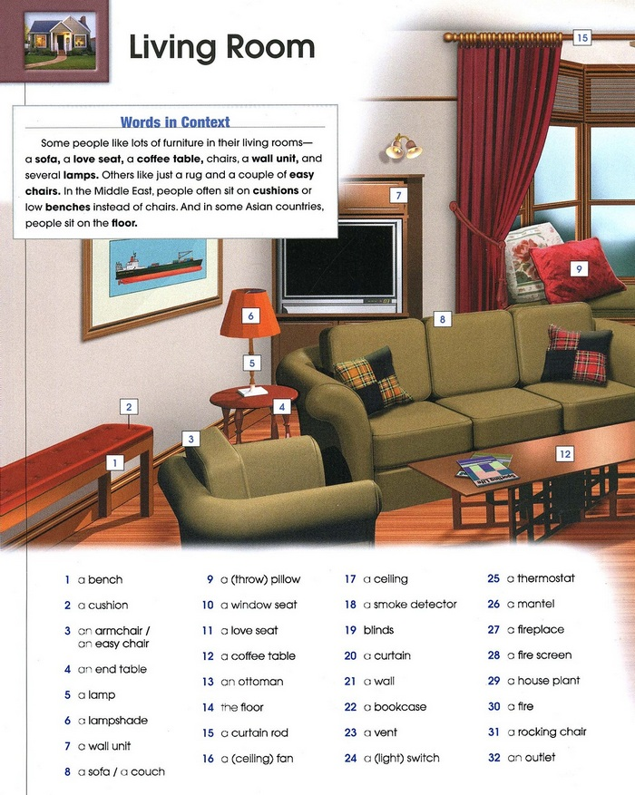 living room vocabulary pic 1