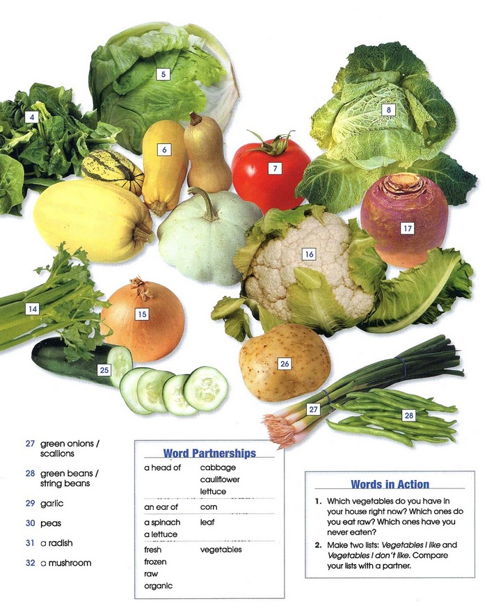 vegetables - vocabulary pic 2